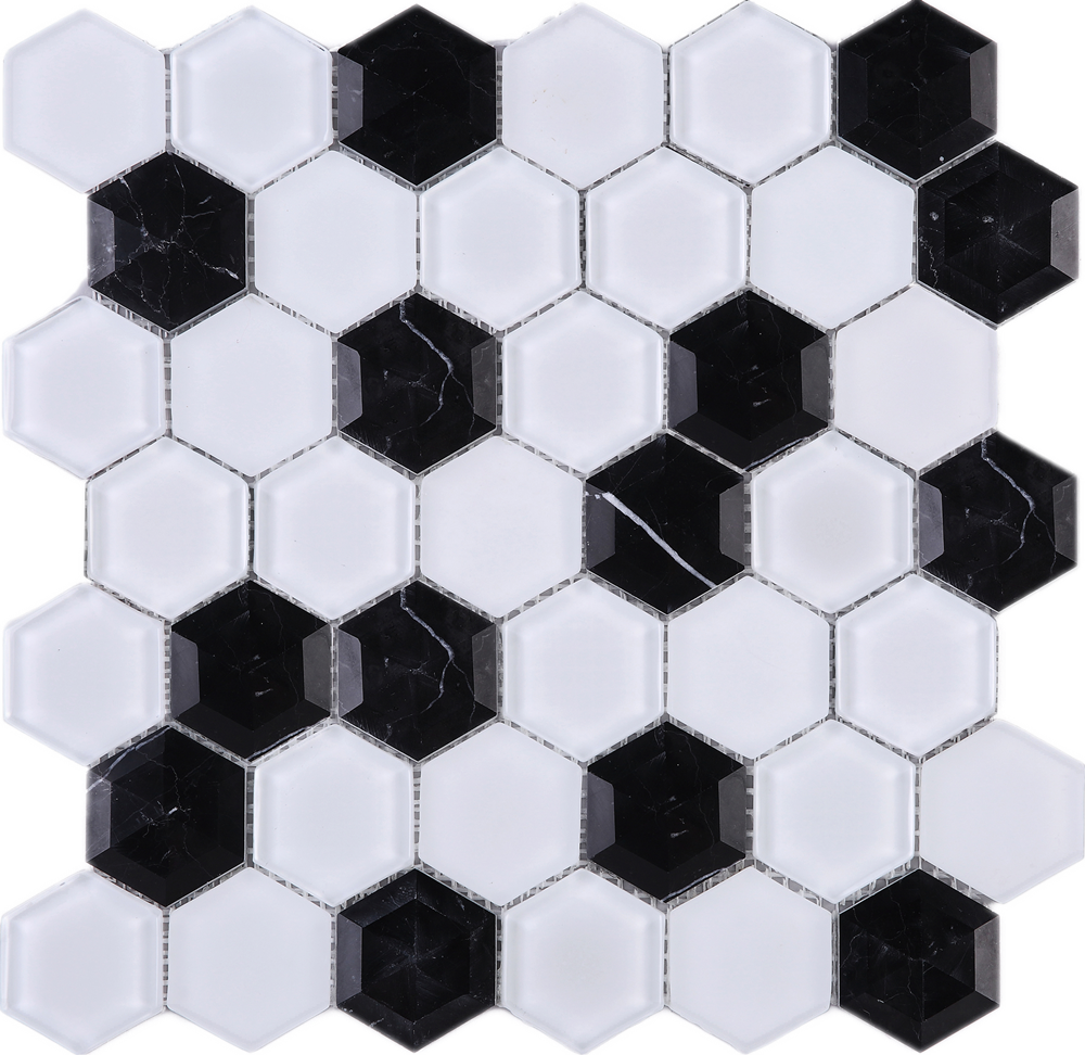 3D Hexagon Honey Comb Black and White Glass and Mosaic Tile Sheet