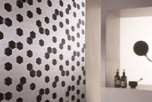 Black and White Hexagon Glass and Stone mosaic tile Backsplash