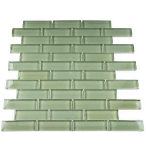 "THAG-11 1""x 3"" brick green glass mosaic tile sheet-kitchen and bath backsplash and wall and floor tile"