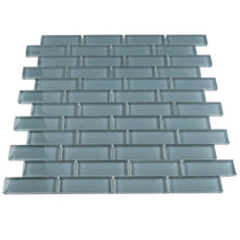 "THAG-01 Grey green 1""x3"" brick glass mosaic tile sheet-kitchen and bath backsplash and wall and floor tile"
