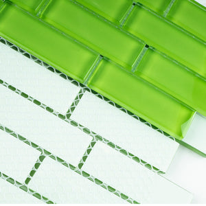 "THAG-20 1""x 3"" brick apple green glass mosaic tile sheet-kitchen and bath backsplash and wall and floor tile"