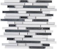 THMAG-11 Grey and White Stripe Handmade Porcelain Mosaic Tile Sheet