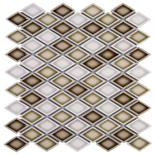 THMAG-12 Brown Diamond Handmade Porcelain Mosaic Tile Sheet