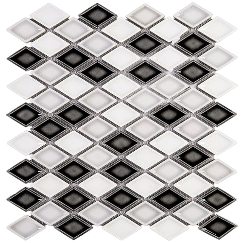 THMAG-13 Grey Diamond Handmade Porcelain Mosaic Tile Sheet