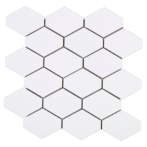 THMAG-07 White Diamond Hexagon Handmade Porcelain Mosaic Tile Sheet