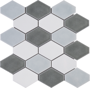 THMAG-08 Grey Diamond Hexagon Handmade Porcelain Mosaic Tile Sheet