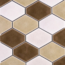 THMAG-09 Brown Diamond Hexagon Handmade Porcelain Mosaic Tile Sheet