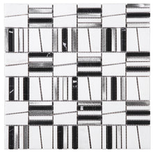 TIMLG-01 2x2 Black and White Square Marble and Silver Aluminum Mosaic Tile Backsplash
