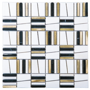 TIMLG-02 2x2 Black and White Square Marble and Gold Aluminum Mosaic Tile Backsplash