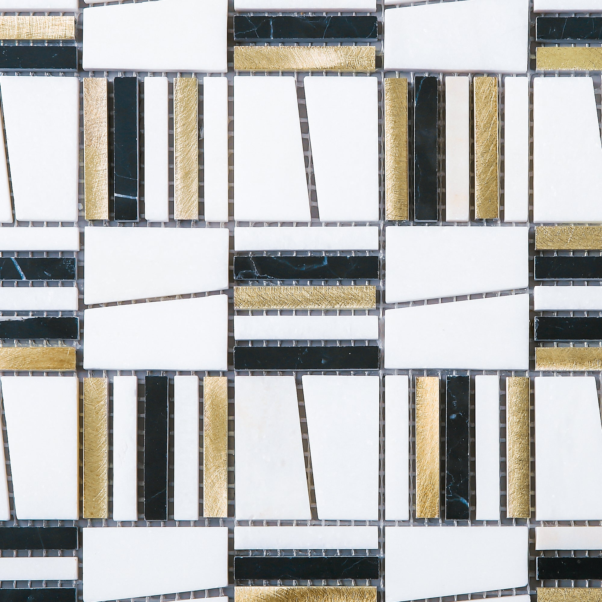 - TIMLG-02 2x2 Black And White Square Marble And Gold Aluminum