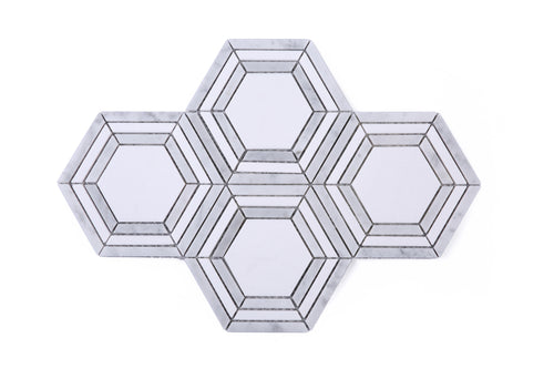 White and Grey Hexagon marble mosaic tile