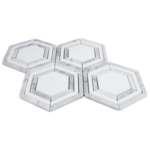 "TINTG-01 White and Grey 6"" Hexagon Marble Mosaic Tile"