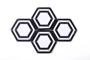 "TINTG-02 Black and White 6"" Hexagon Marble Mosaic Tile"