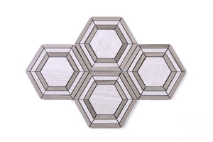 brown large hexagon stone mosaic tile