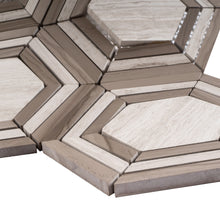 "TINTG-03 Wooden Beige 6"" Hexagon Marble Mosaic Tile"
