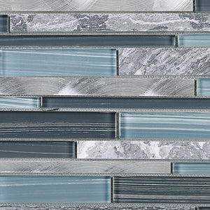 TISTG-10 Random Brick Grey Blue Glass Mix Stone and Aluminum Mosaic Tile