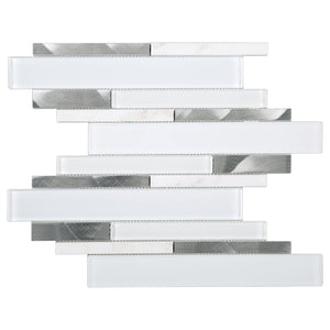 TFCG-05 White and Silver Aluminum Glass Mosaic Tile Backsplash