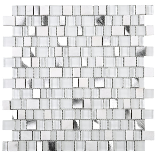 TISTG-01 Random Square Sequence Glass and Aluminum Mosaic Tile in White