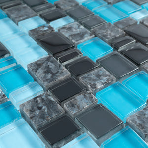 TISTG-04 Blue Black Random Square Sequence Glass and Grey Stone Mix Aluminum Mosaic Tile