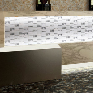 TISTG-05 Random Rectangle Sequence Glass and Aluminum Mosaic Tile in White