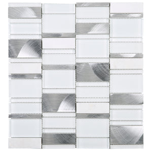 TTBG-01 Random brick White and silver glass mosaic tile mix aluminum