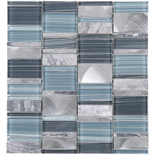 TISTG-06 Blue & Grey Random Rectangle Glass Stone Mix Aluminum Mosaic Tile