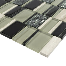 TISTG-07 Beige & Black Random Rectangle Glass Mix Stone Mosaic Tile
