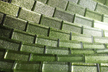 "TJG-07 Green 1x2 Brick Glass Mosaic Tile- Kitchen and Bath Backsplash Wall Tile 12""x12"""