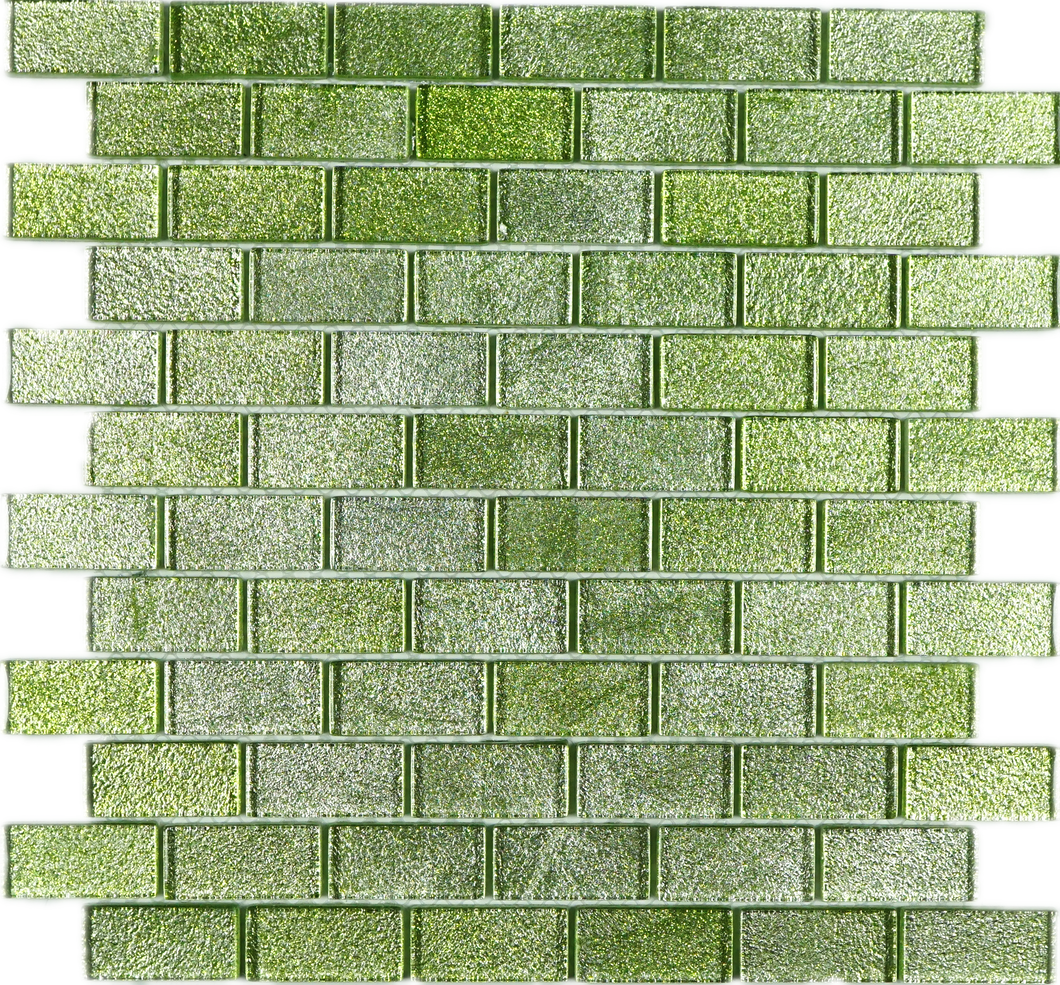 TJG-07 Green 1x2 Brick Glass Mosaic Tile- Kitchen and Bath Backsplash Wall Tile 12