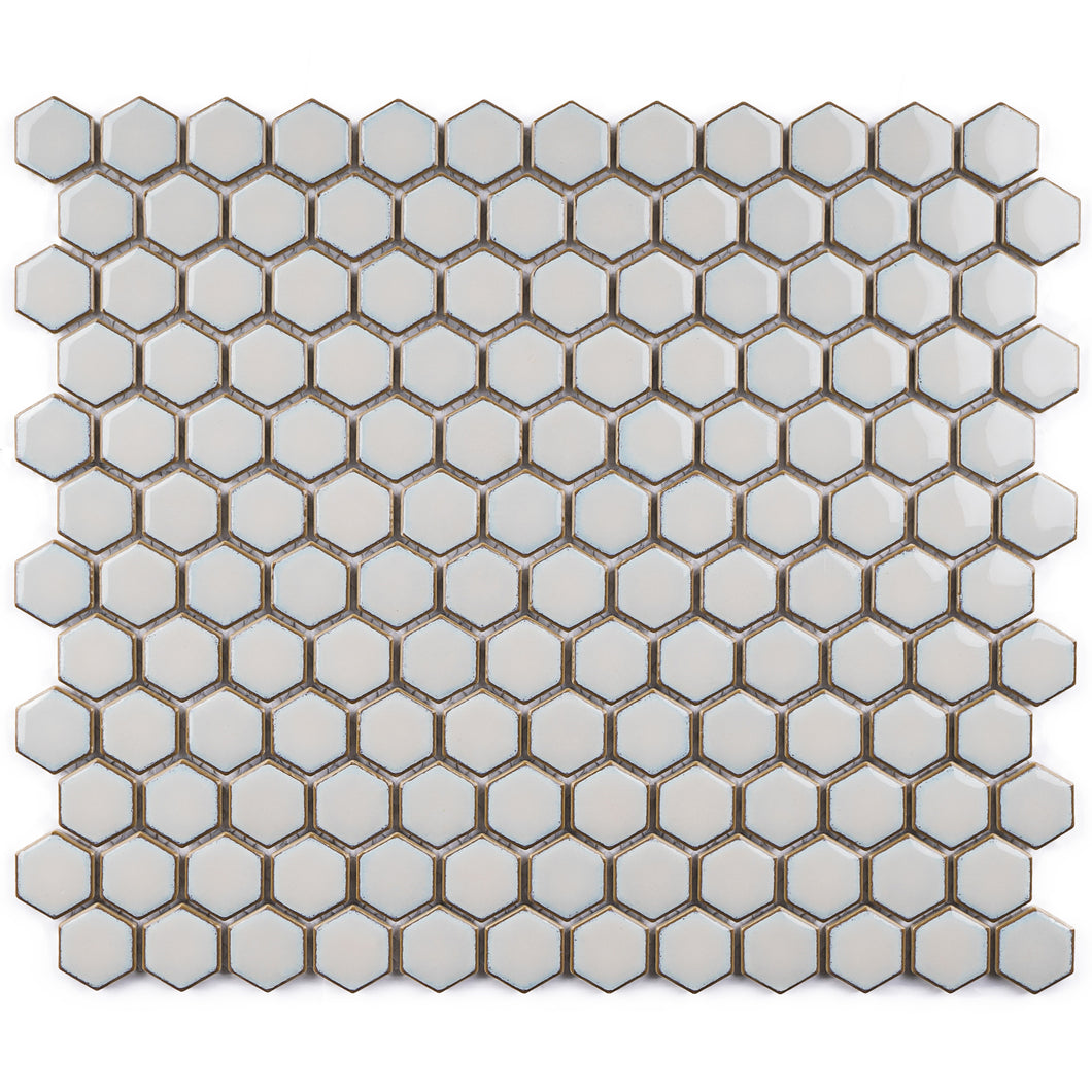 JAPM202 Light grey polished tiny hexagon porcelain mosaic tile
