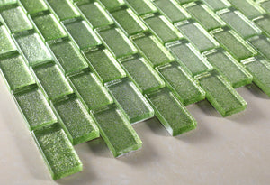 1x2 green glass mosaic tile backsplashw