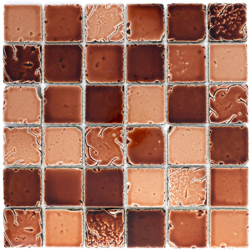 TLTSG-01 2x2 Squre Antique Coffee Brown Travertine Look Glass Mosaic Tile