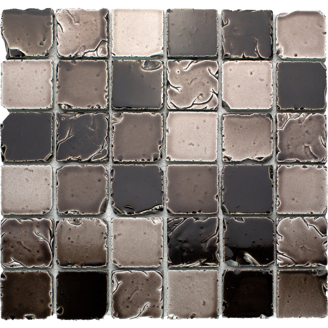 TLTSG-02 2x2 Squre Antique Grey Travertine Look Glass Mosaic Tile