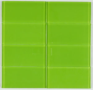 "THG-20 Apple Green 3""x6"" Glass Subway Tile (8pcs) Kitchen and Bath Backsplash Wall Tile"