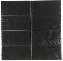 THG-07 black decor subway tile 3x6 - Kitchen and Bath Backsplash Wall Tile(8pcs)