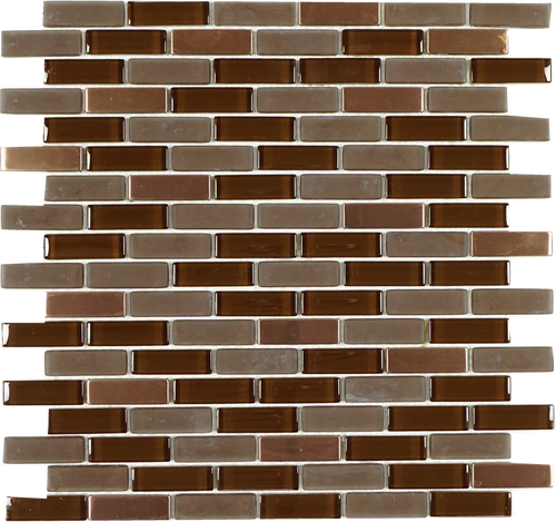 TIG-01 Chocolate truffle brick glass and stainless steel mosaic tile