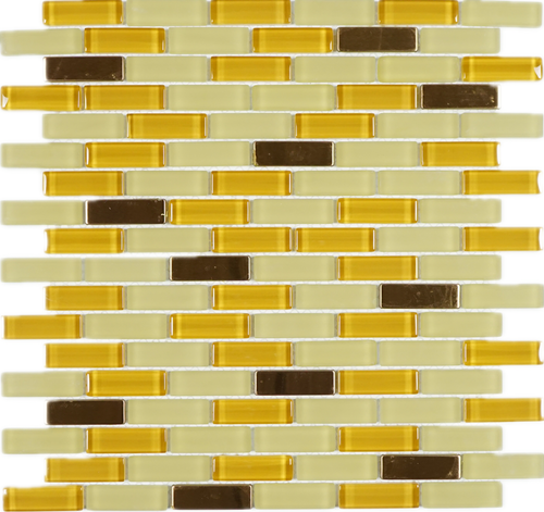 yellow beige glass with stainless steel backsplash mosaic tile for kitchen and bath