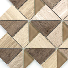 TMOPG-02 Triangle Square Wooden Beige Stone Mosaic Tile Backsplash