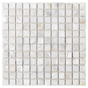 "TMPSG-01 Mother of Pearl 1"" x 1"" Grid Seashell Tile in White"