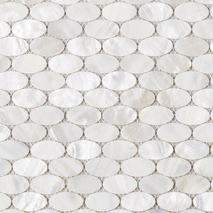 "TMPSG-03 Mother of Pearl 1"" x 1"" Oval Seashell Tile in White"