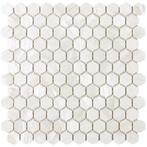 "TMPSG-04 Mother of Pearl 1"" x 1"" Hexagon Seashell Tile in White"