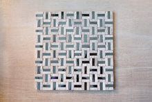 Cross bridge beige stone and stainless steel mosaic tile sheet