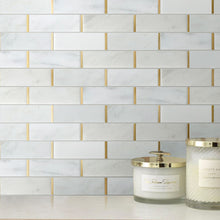 NBG-2 2x6 White and Gold Metal Stainless Steel Polished Marble Tile