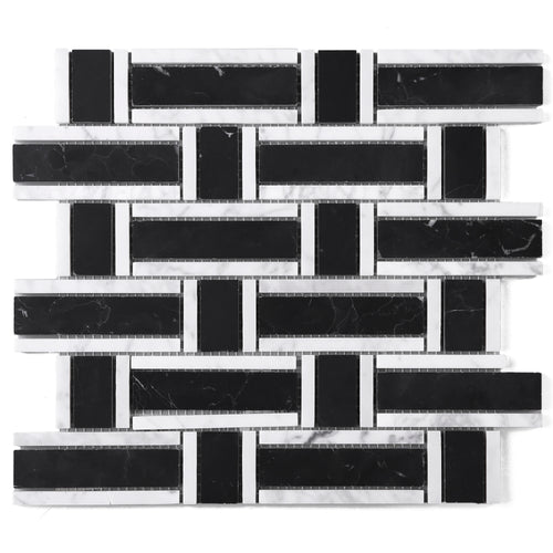 TNEAG-01 Basket Weave Black and White Stone Mosaic Tile Sheet