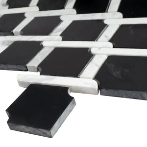 TNEAG-02 Interlock Link Tie Black and White Stone Mosaic Tile Sheet