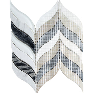 TNLG-01 Leaf Shape Black and White Marble Mosaic Backsplash Tile