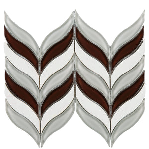TNLG-03 Leaf Shape Wine Red and White Marble Mosaic Backsplash Tile