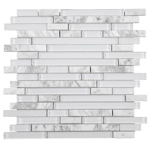 TNLQG-01 White Glass with White Carrara Marble Mosaic Tile