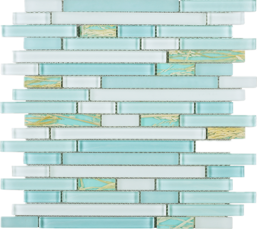 TNLQG-02 Turquoise Blue Green Glass Stripe Floral Mosaic Tile