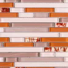 TNLQG-03 Orange Beige Glass Stripe Floral Mosaic Tile